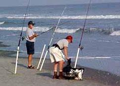 Surf fishing from the beach in Myrtle Beach, SC